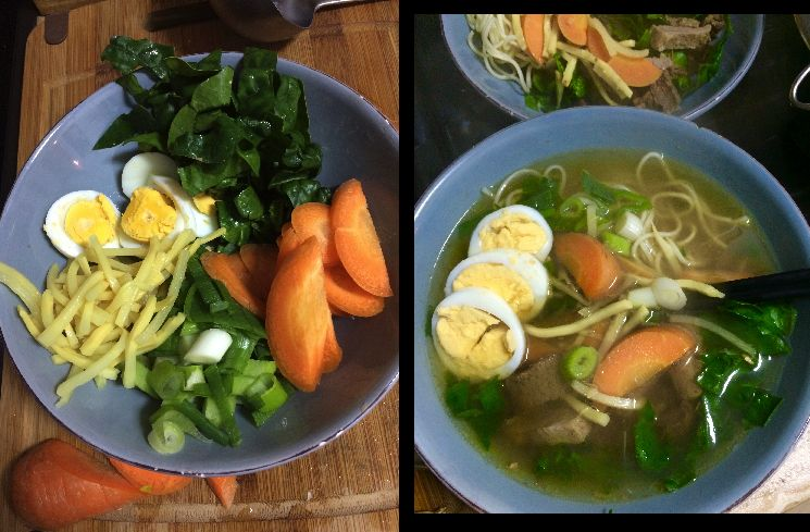 Die Suppeneinlagen können vielfältig variiert werden. Einige werden in der Brühe gegart, andere können in der Schale mit der Brühe übergossen werden, etwa Spinat. Die Ramen-Nudeln und das Ei werden getrennt gekocht.